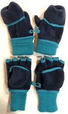 2 GAP Kids Blue And Teal Fleece Fingerless Gloves Mittens - Size S - EUC/NWOT