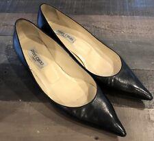 Jimmy Choo AZA Black Pointed Toe Kitten Heel Size 42 EU 10 US SHIPS FREE