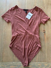 Forever 21 Ribbed Maroon Bodysuit Short Sleeve 1 Piece Top Size Small