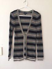 Ladies Striped Witchery Cardigan with belt Size S 100% Cotton Black White Beige