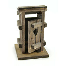 "Wooden Outhouse, 3.25"" x 2.15"" x 1.85"" - Miniature Fairy Garden Dollhouse"