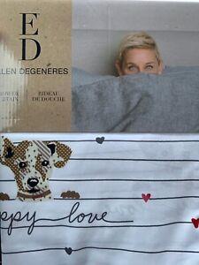 ED Ellen DeGeneres Puppy Love Shower Curtain Dog Lover 72x72 Washable New