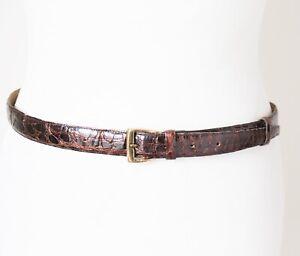 Genuine Crocodile Skin Leather Vintage Belt - Womens - Brown  - S / M