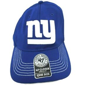 NFL New York Giants One Size BLUE '47 Brand Game Time Closer Stretch Fit Hat $28