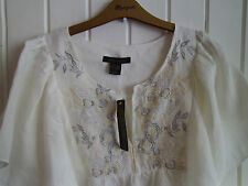 BNWT - LADIES CREAM LINEN-MIX SUMMER TOP WITH FLORAL DETAIL - SIZE L / 14-16