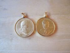 Lot of (2) U.S. President Gold Plated Pendant Medal in a Bezel Washington, Nixon