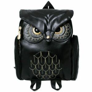 Frauen Eule Rucksack Geprägte Reißverschluss Schultasche Daypacks #