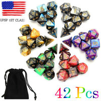 USA 6 Colors 42pcs Polyhedral Dice Set for DND RPG MTG Game Dungeons Games + Bag