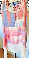 Simply Vera Wang Pullover XS Women's Watercolor High Low Assymetrical