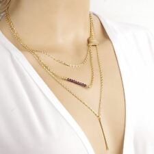 """Ladies Multilayered Gold Bar Heart Necklace. Layers measure 15.75"""", 19.50"""" and 2"""