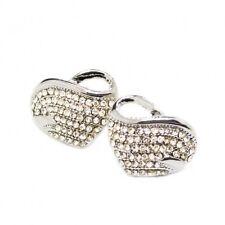 Boucles d'oreilles cœur or blanc avec des pierres blanches, pour femme