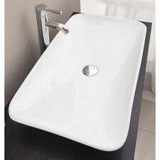 Ceramic Wash Basin Bathroom Sink Rectangular Above Counter Top Vanity White