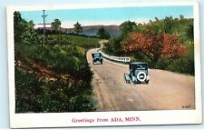 Old Country Road Classic Cars Greetings from Ada Minnesota MN Postcard B23