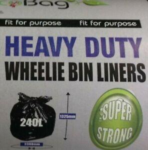 240L WHEELIE BIN LINER BAGS Black Heavy Duty Refuse Sacks XL