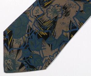 Vintage Black Green Floral Silk Tie