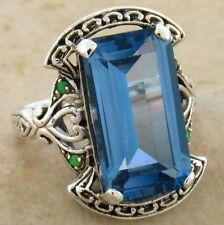 8 Ct. Sim Aquamarine & Opal Antique Design .925 Silver Ring Size 4.75, #499