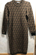 fendi FF Logo Jacquard long sleeves Sweater mid-length Dress Black Brown size:36