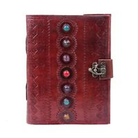 8 x 6 Inches Brown Cheery Red Leather Journal Book Medieval 7 Stones Notebook