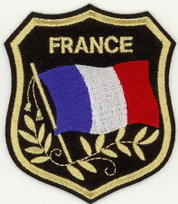 "FRANCE Flag in shield Embroidered Patches 3.25""x2.75"""