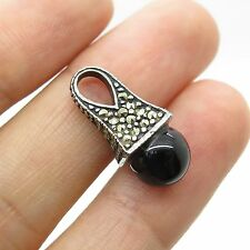 925 Sterling Silver Real Black Onyx Marcasite Gemstone Small Pendant