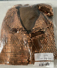 NWT COLLEEN LOPEZ Retro Sequin Sweater Size XS Color Bronze NEW SEALED