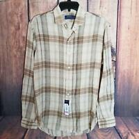 Polo Ralph Lauren Men's Long Sleeve Shirt Size M 100% Linen Brown/Ivory Plaid