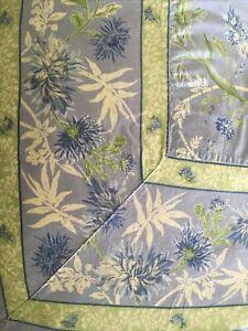 Vintage April Cornell 74x104 Blue/green  100% Cotton Tablecloth
