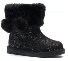 Jumping Beans Coco Black Sparkle Pom Pom Boots with Faux Fur Toddler Girl Size 6