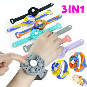 Wristband Fidget Toy Popit Bubble Bracelet Sensory Spinners Watch Stress Relief*