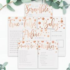 BABY SHOWER GAMES- Rose Gold Polka Dot Favours Predictions Who Knows Mummy Best