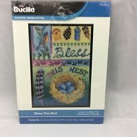 Bless This Nest Plaid Bucilla Counted Cross Stitch Kit 5x7 14Ct. White Aida