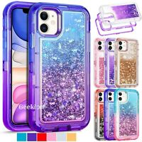 For iPhone 12 Mini 11 Pro Max Liquid Gillter Shockproof Protective Hard Case