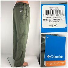 "Columbia Mens Medium X 32"" Backcast Convertible Pants Green PFG Nylon NWT $45"