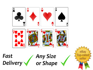 8 x playing cards Cake topper Decoration Icing Wafer or Wafer card