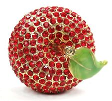 Red Apple Jewelry Box Jewel Apple Trinket Box with Red Crystals, Gold Plating