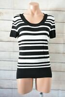 Basque Knit Jumper Top Size 12 Black White Striped Shorts Sleeve