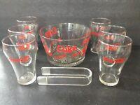 Vintage 8 piece Coke/Coca Cola Snack Set -Bowl. 6 Glasses & Tongs NIB