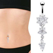 Hi Belly Bar Navel Button Ring Crystal Gem Dangly Surgical Steel Body Jewellery