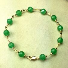 14k soloid yellow gold 6mm faceted natural Green Chrysoprase bracelet 7 inches