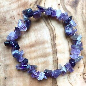 "Amethyst Gem Chip Bead Crystal Bracelet 7"" Meditation Confidence Crown Chakra"