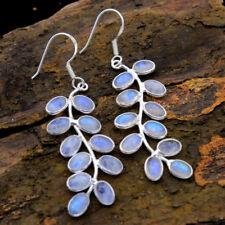 925 Sterling Silver New Year Natural Rainbow Moonstone Gemstone Earrings Pair