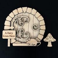 Wooden Fairy Elf Pixie Door Shape Blank Craft Kit Ornate Hobbit plus Accessories