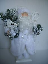 St. Nicholas Santa Claus Christmas Decorations, White with lace, Staff, 17""