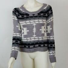 New Roxy Women s Sweater Gray Black White Long Sleeve Aztec Western Size  Medium 710608d4c
