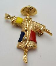 Vintage Signed SARAH COV Goldtone Enamel SCARECROW Shape Pin Brooch