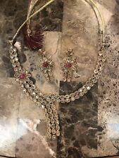 Gold Plated Kundan Choker Necklace Set Bollywood Bridal Indian Jewelry Set