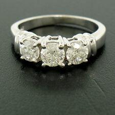 14k Solid White Gold Three-Stone 1.01ctw Classic Design Diamond Engagement Ring