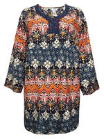 Women's Sizes 16/18,20/22,24/26,28/30 Multi Print 3/4 Sleeve Top With (b20)