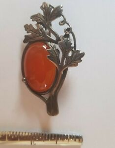 Brooch Pin Antique Victorian Silver 925 Mounted Amber with Art Deco