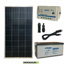 Kit Solare Fotovoltaico 150W 12V Batteria AGM 200Ah Baita Chalet Casa